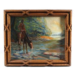 H Huber Oil Painting & Exceptional Tramp Art Frame