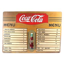 Vintage Coca-Cola Wooden Menu Board c. 1930's