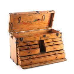Antique Solid Oak Machinist Tool Chest