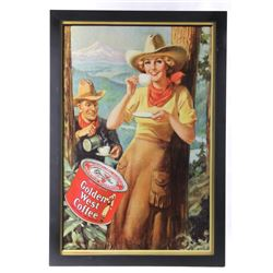 Golden West Coffee Cowgirl Advertising Poster