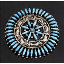 Nez Perce Silver & Turquoise Petite Brooch Signed