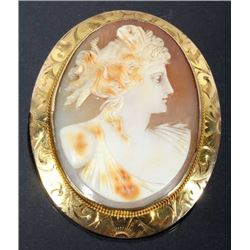 Exceptional Carved Shell & Gold Cameo Brooch