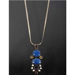 Navajo Inlaid Multistone-Sterling Pendant Necklace