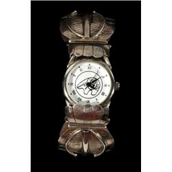 Zuni Sterling Silver Feather Motif Watch
