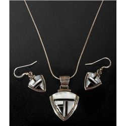 Signed Navajo Silver, MOP, Onyx Necklace+Earrings