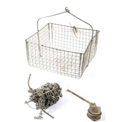 Antique Butte Miners Wire Basket w/ Pulley & Hook