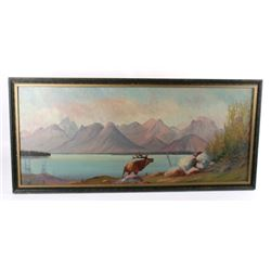 Early 1900 Original Oil Landscape Painting by Raze