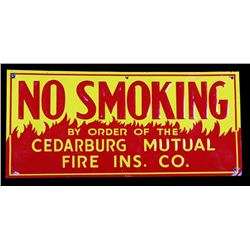 1930's No Smoking Cedarburg Mutual Tin Sign