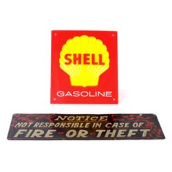 Vintage Shell sign and hand painted Notice sign