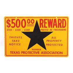 Texas Protective Association Reward Sign