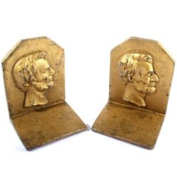 Cast Iron Gold Toned Abraham Lincoln Book Ends