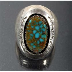 Teddy G. Navajo Pauite Turquoise & Silver Ring
