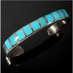 Navajo Sand Cast Sterling Silver & Turquoise Cuff