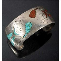 Navajo Sterling, Turquoise & Coral Pictorial Cuff