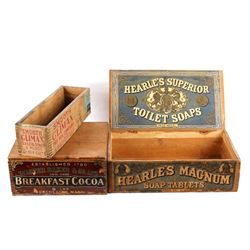 Early Mercantile Advertising Wood Boxes 19th-20th