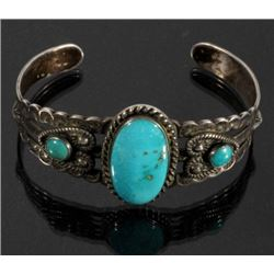Navajo Native American Turquoise Sterling Cuff