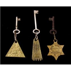 Early Antique Brass Hotel Fobs and Keys (3)