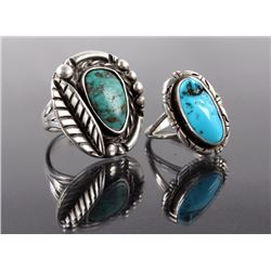 Navajo Native American Signed Turquoise Rings (2)
