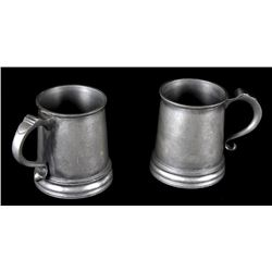 Antique Pair of Eichner Pewter Tankards