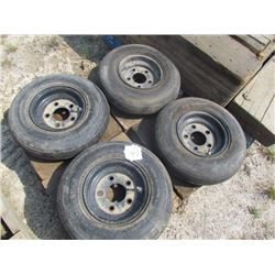 4 smooth implement tires + rims 4.8-8NHS Carlise