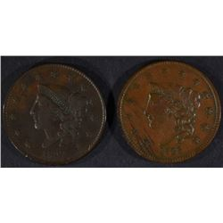 1835 & 1837 LARGE CENTS, VF/XF