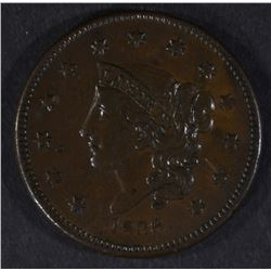 1836 LARGE CENT, VF/XF