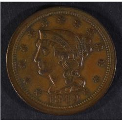 1849 LARGE CENT, XF/AU