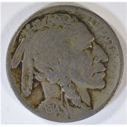 1914-D BUFFALO NICKEL, FINE  KEY COIN