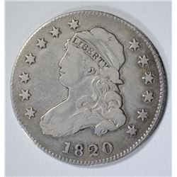 1820 BUST QUARTER, VF cleaned