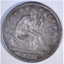 1843 SEATED HALF DOLLAR, XF/AU