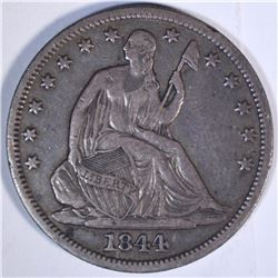 1844-O SEATED HALF DOLLAR, XF/AU NICE