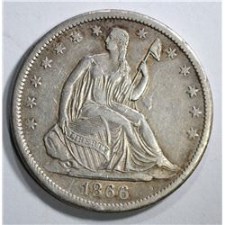 1866-S SEATED HALF DOLLAR, XF+ NICE