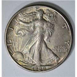1929-D WALKING LIBERTY HALF DOLLAR, CH BU ORIGINAL