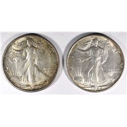 2 - 1944-S WALKING LIBERTY HALF DOLLARS