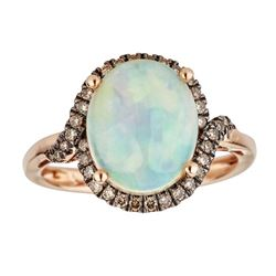 3.07 ctw Opal and Brown Diamond Ring - 14KT Rose Gold