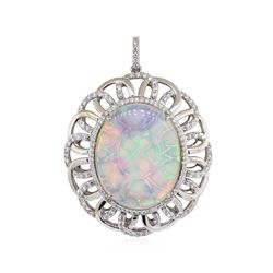 13.52 ctw Opal And Diamond Pendant - 14KT White Gold