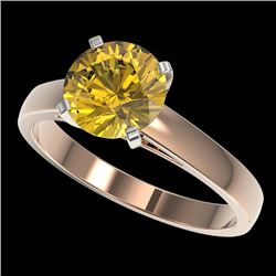 2 CTW Certified Intense Yellow SI Diamond Solitaire Engagement Ring 10K Rose Gold - REF-344M5H - 330