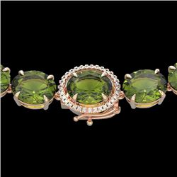 145 CTW Green Tourmaline & VS/SI Diamond Halo Micro Necklace 14K Rose Gold - REF-1166M2H - 22299