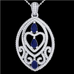 3.50 CTW Sapphire & Micro VS/SI Diamond Heart Necklace Designer 18K White Gold - REF-218W2F - 21294