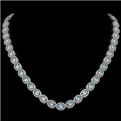 33.25 CTW Sky Topaz & Diamond Halo Necklace 10K White Gold - REF-501F5N - 40430