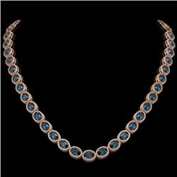 33.25 CTW London Topaz & Diamond Halo Necklace 10K Rose Gold - REF-511M3H - 40437