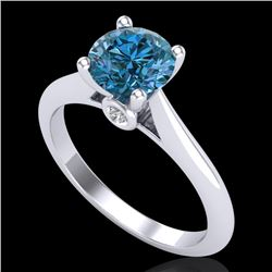 1.36 CTW Fancy Intense Blue Diamond Solitaire Art Deco Ring 18K White Gold - REF-227A3X - 38209