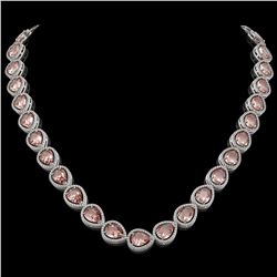 41.6 CTW Morganite & Diamond Halo Necklace 10K White Gold - REF-1024X4T - 41198