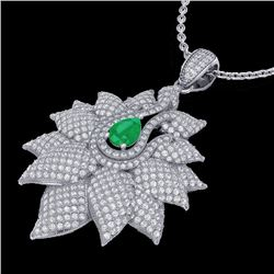 3 CTW Emerald & Micro VS/SI Diamond Designer Necklace 18K White Gold - REF-257T3M - 22561