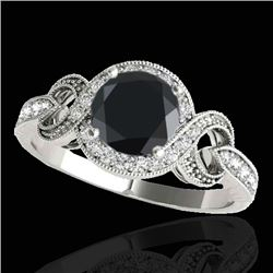 1.33 CTW Certified VS Black Diamond Solitaire Halo Ring 10K White Gold - REF-60A4X - 33808