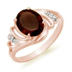 2.03 CTW Garnet & Diamond Ring 14K Rose Gold - REF-23M3H - 12661