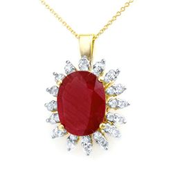8.25 CTW Ruby & Diamond Pendant 14K Yellow Gold - REF-131M8H - 12892