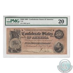 USA; T-64. 1864 Confederate States of America $500. S/N: 10821/D. PMG VF-20 Tears.