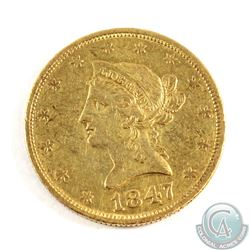 USA; 1847 $10 Gold Eagle Extra Fine