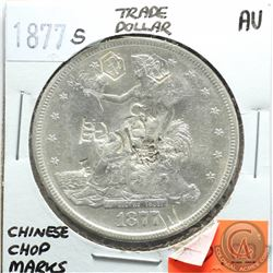 USA 1877 S Trade Dollar; Chinese Chop Marks; AU